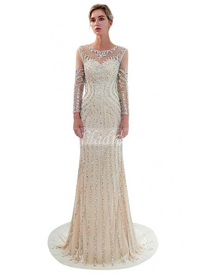 Shining Tulle Jewel Neckline Mermaid Formal Dress With Beadings