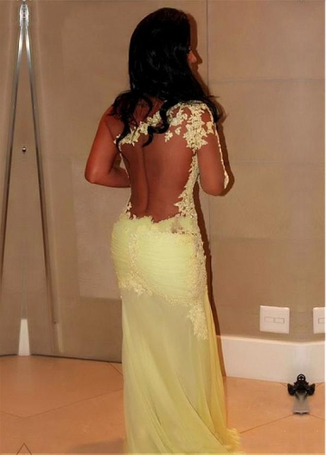 Elegant One-shoulder Sheath Evening Dresses With Lace Appliques