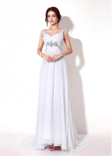 Simple Chiffon V-neck Neckline A-Line Prom Dresses With Beadings