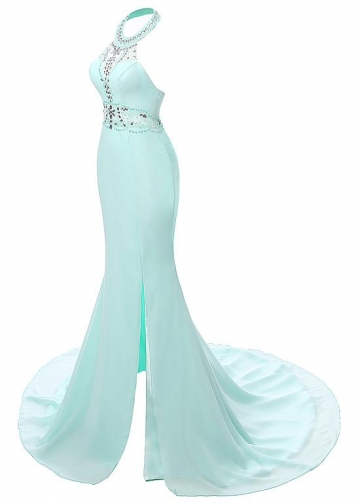 Glamorous Chiffon Halter Neckline Mermaid Evening Dresses With Beads & Rhinestones