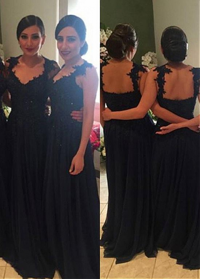 Chic Chiffon V-neck Neckline A-line Bridesmaid Dresses With Lace Appliques