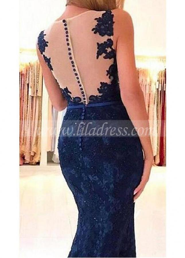 Excellent Lace V-neck Neckline Mermaid Evening / Prom Dress