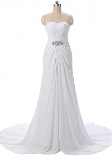 Flowing Chiffon Sweetheart Neckline Sheath Evening Dresses With Beads