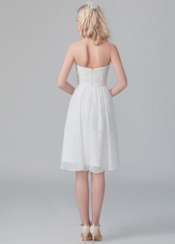 Pleat Sweetheart Chiffon Little White Dresses for Party