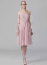 Simple A-line Strapless Chiffon Bridesmaid Dress Under $100