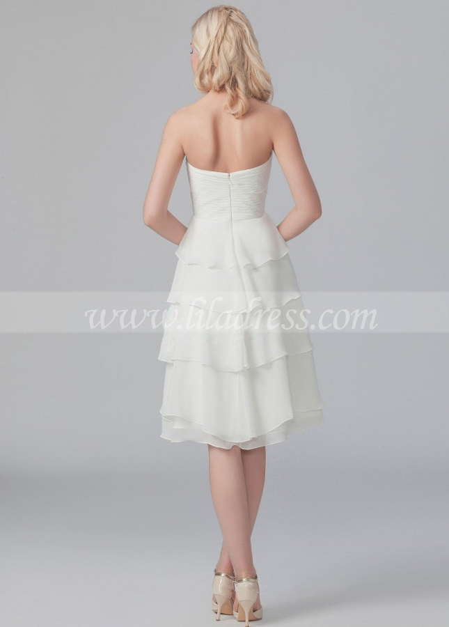 Sweetheart Chiffon Knee Length Bridesmaid Dress with Ruffles