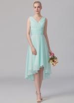 Ruched V-neck A-line Mint Green Bridesmaid Wedding Guest Dress