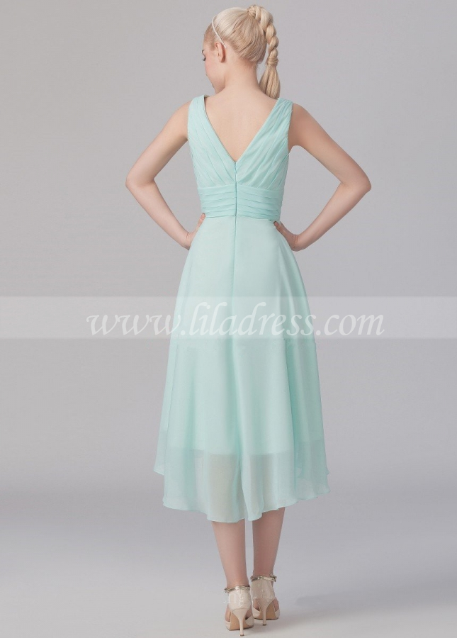 Ruched V-neck A-line Mint Green Bridesmaid Wedding Guest Dress