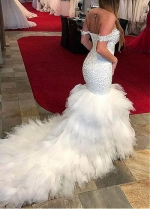 Beautiful Tulle Off -the-shoulder Neckline Mermaid Formal Dresses With Beaedings & Ruffles