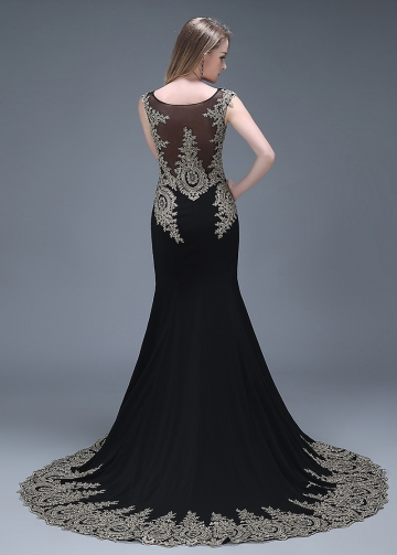 Elegant Black Bateau Neckline Mermaid Evening Dresses