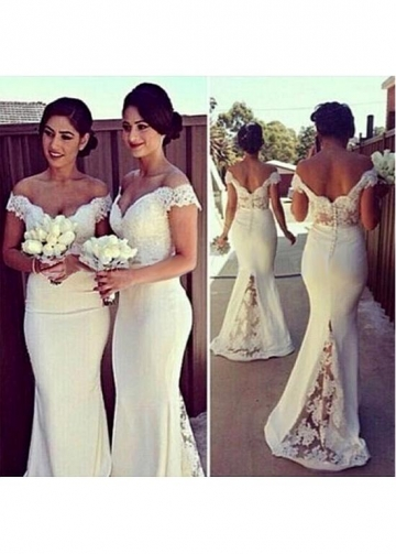 Amazing Off-the-shoulder Neckline Floor-length Mermaid Bridesmaid Dresses