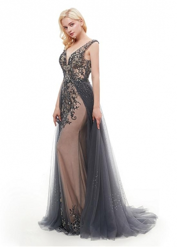 Charming Tulle & Satin V-neck Neckline Floor-length Mermaid Evening Dress With Beadings & Rhinestones