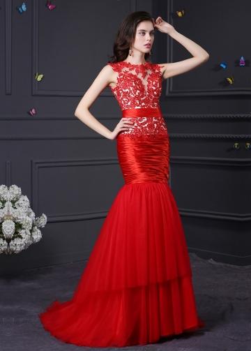 Exquisite Tulle Red Jewel Neckline Mermaid Formal Dresses
