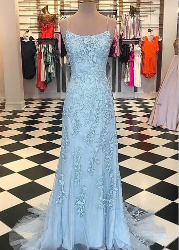 Fabulous Tulle Spaghetti Straps Neckline Floor-length Mermaid Evening Dresses With Lace Appliques