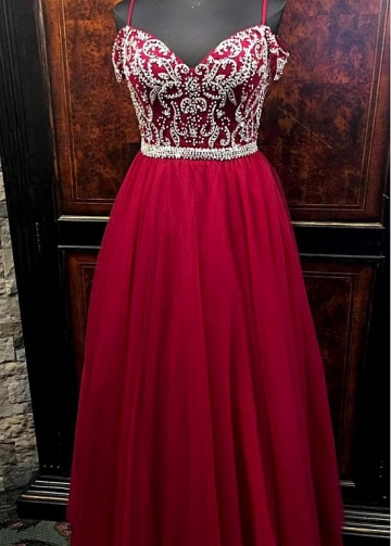 Graceful Tulle Spaghetti Straps Neckline Floor-length A-line Evening Dresses With Beadings