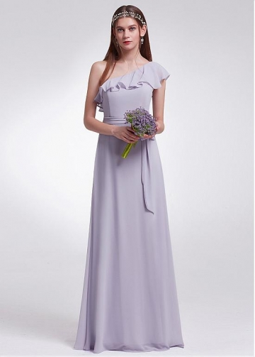 Marvelous Chiffon One Shoulder Neckline Full Length A-line Bridesmaid Dress With Ruffles