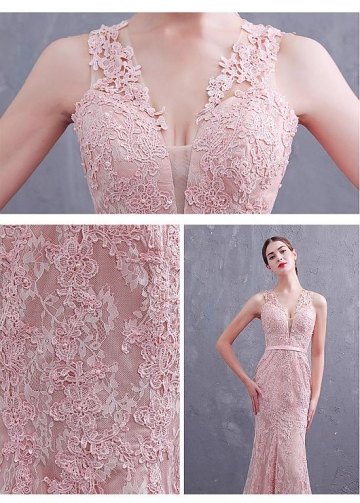 Fabulous Tulle & Lace V-neck Neckline Mermaid Prom/Evening Dresses With Lace Appliques & Beadings