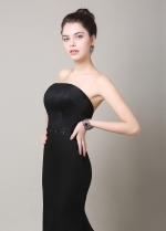 Elegant Black Satin Strapless Neckline Mermaid Bridesmaid Dress