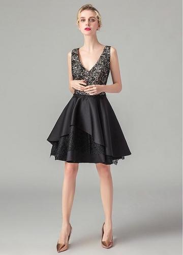 Fabulous Lace & Satin V-neck Neckline Knee-length A-line Homecoming Dresses