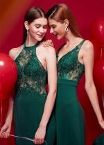 Diaphanous Lace V-neck Neckline A-line Bridesmaid Dresses