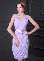 Elegant Chiffon V-neck Neckline Knee-length Sheath Bridesmaid Dress