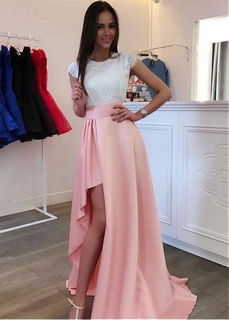 Charming Satin & Lace Jewel Neckline Floor-length A-line Prom Dresses With Slit