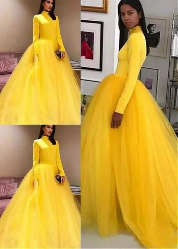 Unique Yellow High Collar Floor-length Ball Gown Evening Dresses