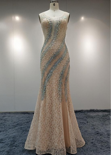 Wonderful Lace & Tulle Scoop Neckline Floor-length Mermaid Evening Dresses With Rhinestones & Imitation Pearls