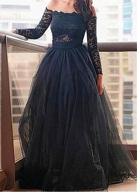 Showy Tulle & Lace Off-the-shoulder Neckline Floor-length A-line Dresses With Belt