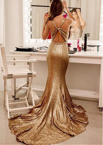 Gorgeous Sequin Lace V-neck Neckline Floor-length Mermaid Evening Dress