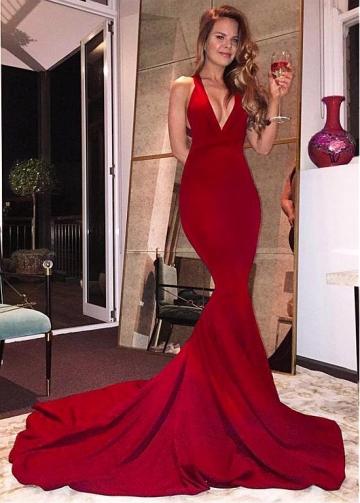 Dazzling Red V-neck Neckline Floor-length Mermaid Evening Dress