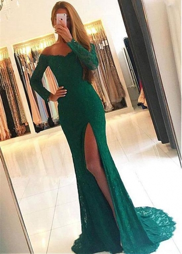 Gorgeous Lace Off-the-shoulder Neckline Floor-length Mermaid Evening Dress With Slit