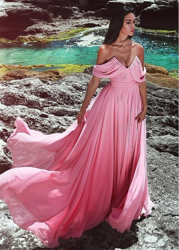 Fantastic Chiffon Off-the-shoulder Neckline Floor-length A-line Evening Dress With Belt