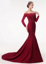 Delicate Off-the-shoulder Neckline Floor-length Mermaid Evening Dress With Sleeves