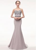 Gorgeous Spaghetti Straps Neckline Floor-length Mermaid Evening Dress With Beadings