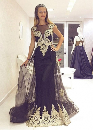Alluring Tulle & Satin Jewel Neckline Floor-length Mermaid Evening Dress With Lace Appliques