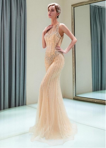 Exquisite Tulle Jewel Neckline Full-length Mermaid Evening Dress With Beadings