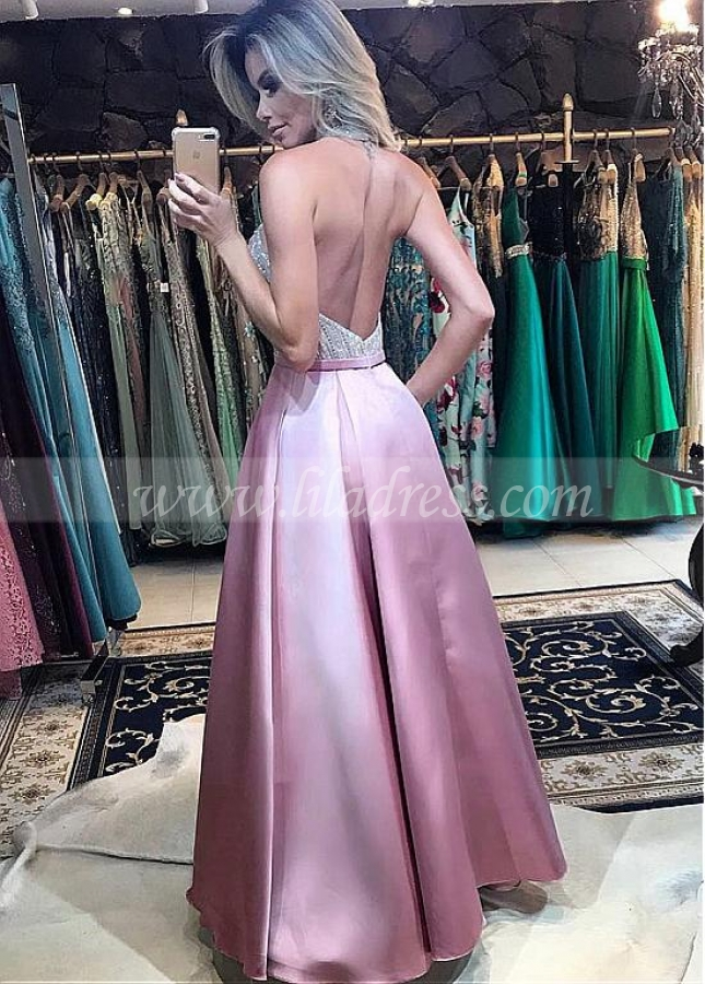 Stunning Satin Halter Neckline Floor-length A-Line Prom Dress With Pockets