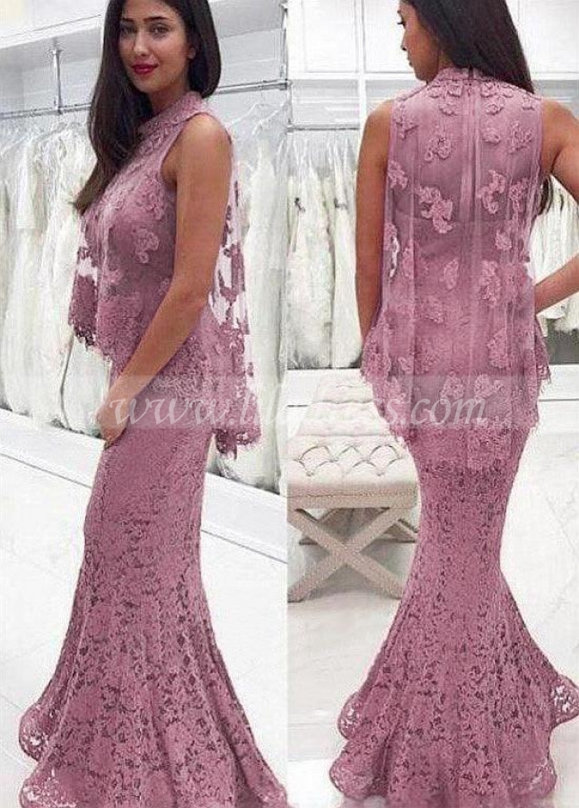 Fashionable Lace High Collar Neckline Mermaid Prom Dress With Lace Appliques