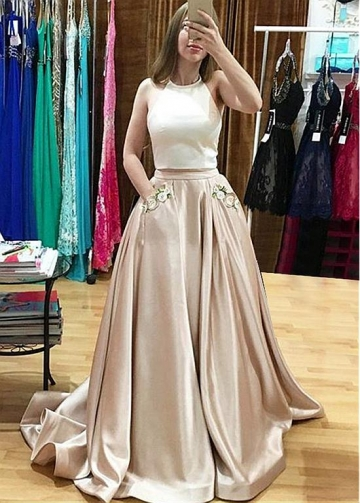 Alluring Satin Halter Neckline Two-piece A-line Prom Dress With Pockets