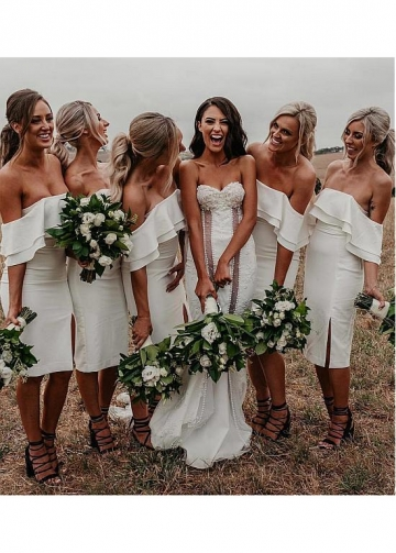 Wonderful Spandex Off-the-shoulder Neckline Sheath/Column Bridesmaid Dresses