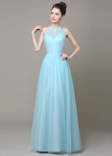 Elegant Tulle Light Blue High Collar Neckline A-line Bridesmaid Dress