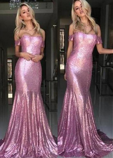 Eye-catching Sequin Lace Off-the-shoulder Neckline Mermaid Prom Dress