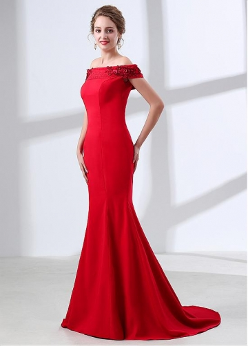 Red Spandex Off-the-shoulder Neckline Mermaid Evening / Prom Dress