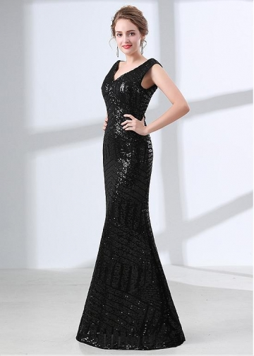 Wonderful Sequin Lace V-neck Neckline Mermaid Evening Dress