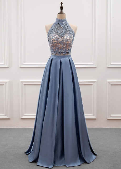 Glamorous Lace & Satin High Collar Cut-out Back A-line Prom Dress With Beadings