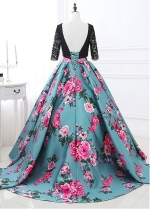 Special Scoop Neckline 3/4 Length Sleeves Backless Ball Gown Prom Dress