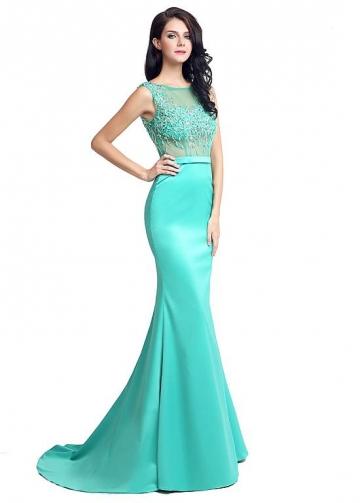 Delicate Satin Bateau Neckline Mermaid Formal Dresses With Beadings