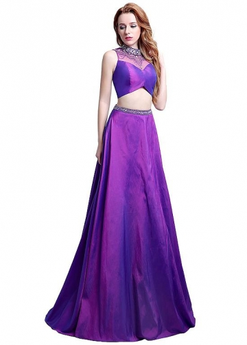 Fantastic Tulle & Taffeta High Collar Neckline Cut-out Two Piece A-line Homecoming Dresses With Beadings