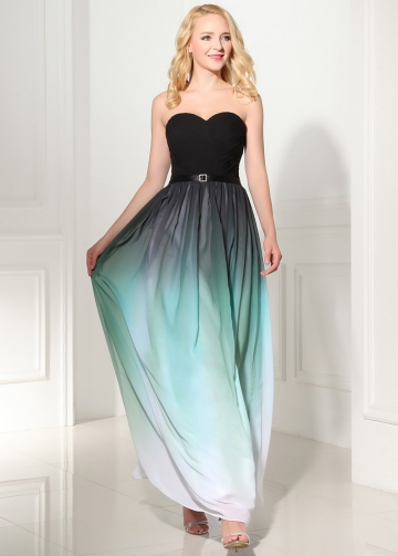 Fashionable Gradient Chiffon Sweetheart Neckline A-Line Prom Dresses
